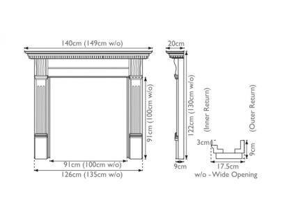 Carron Corbel Oak Wide Opening Fire Surround