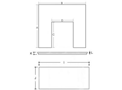 54 Inch x 15 Inch Slate Hearth And Back Panel Set