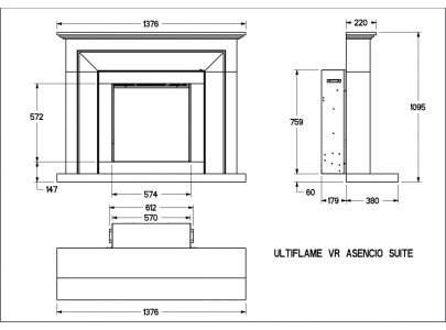 Celsi Ultiflame VR Asencio Limestone Electric Fireplace Suite