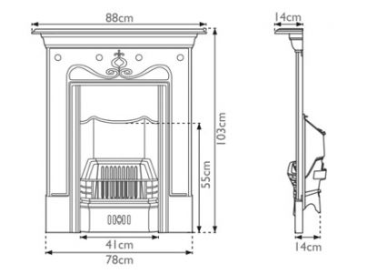 Carron Fireplaces Tulip Cast Iron Combination Fireplace
