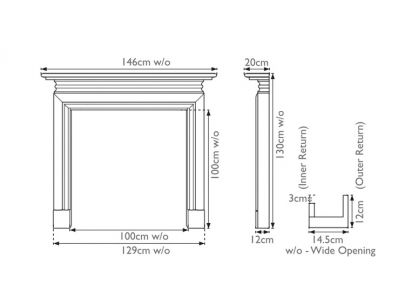 Carron Wessex Wide Opening Painted Fire Surround