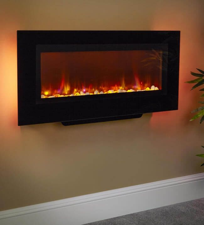 Suncrest Santos Panoramic Wall Mounted Electric Fire Direct Fireplaces Direct Fireplaces